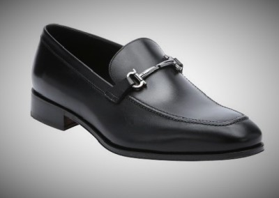 Black Leather Salvatore Ferragamo 'fenice' Gancini Detail Loafers